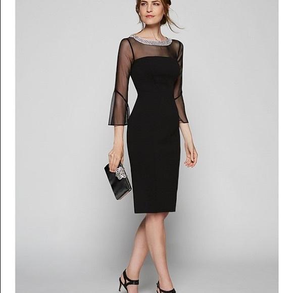 Alex Evenings Dresses & Skirts - Alex Evenings Mesh Bell Sleeve Crepe Sheath Dress